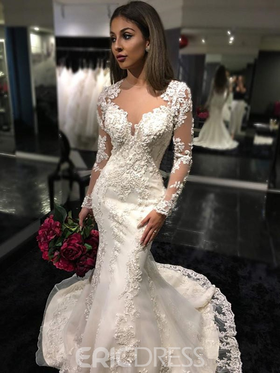 Ericdress Backless Mermaid Long Sleeves Sexy Illusion Neck Wedding Dress