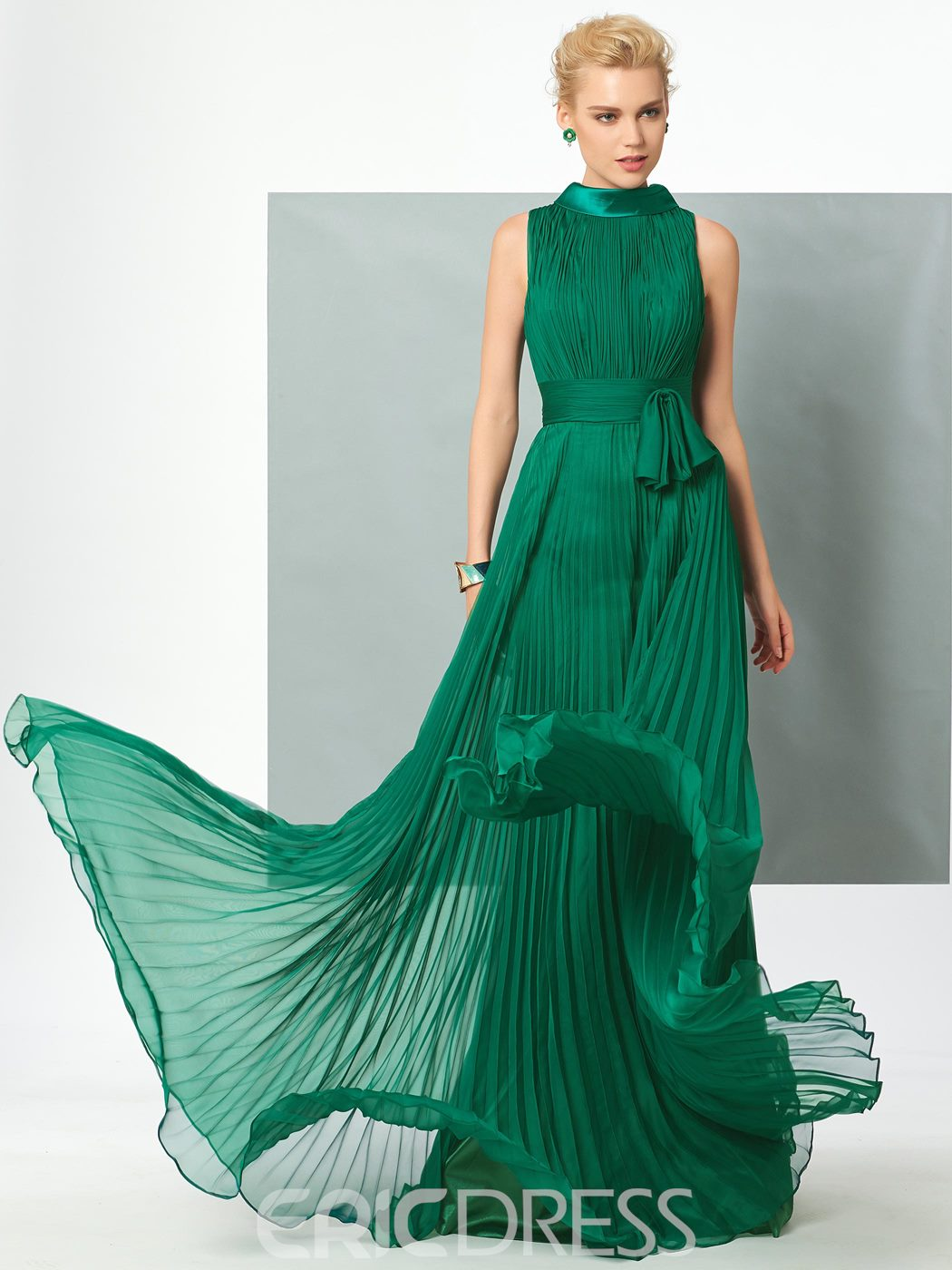 Ericdress Vintage A Line High Neck With Belt Pleats Chiffon Long Evening Dress