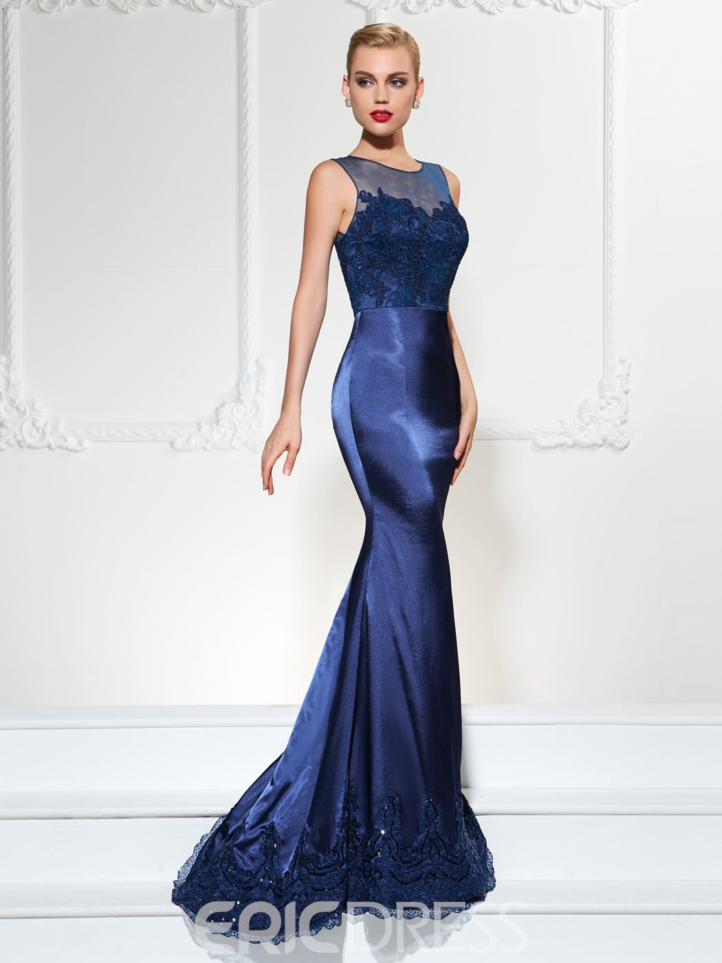 Ericdress Scoop Neckline Lace Applique Floor Length Mermaid Evening Dress With Tulle Cape