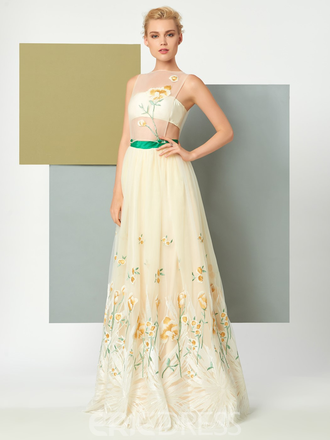 Ericdress A Line Scoop Neck Sleeveless Embroidery Floor Length Evening Dress