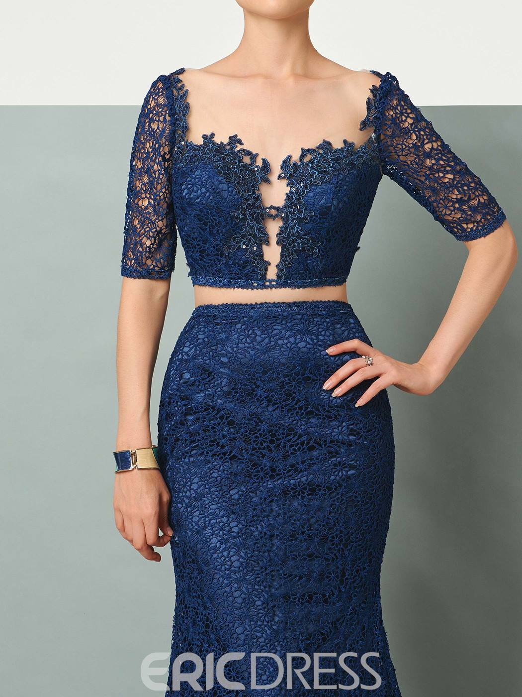 Ericdress Two Pieces Half Sleeve Backless Lace Mermaid Evening Party Dress