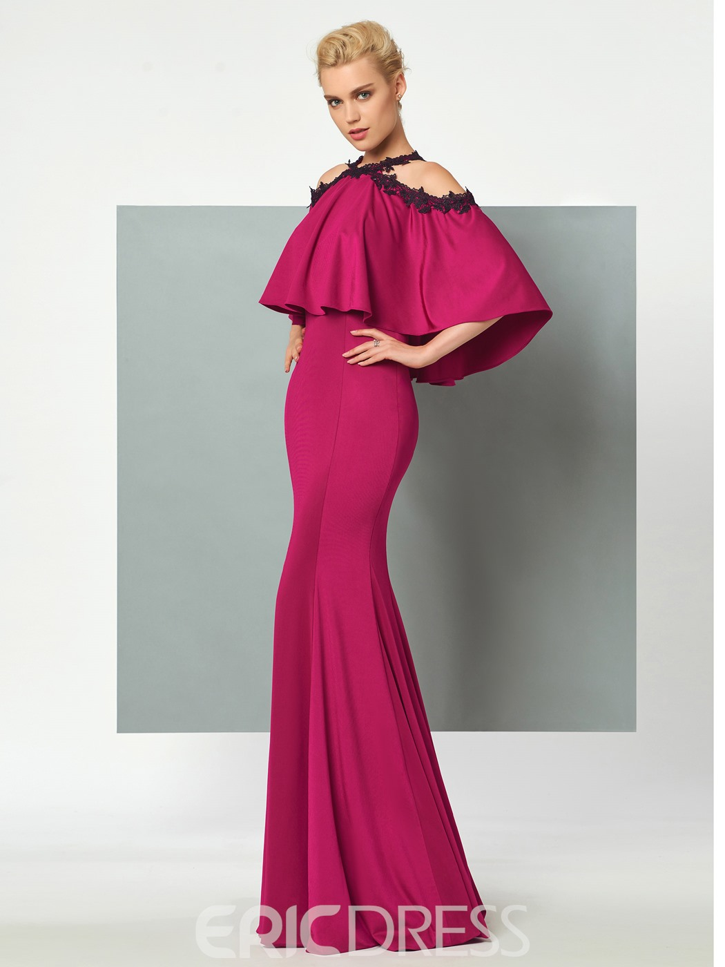 Ericdress Halter Cape Sleeve Mermaid Evening Dress In Floor Length