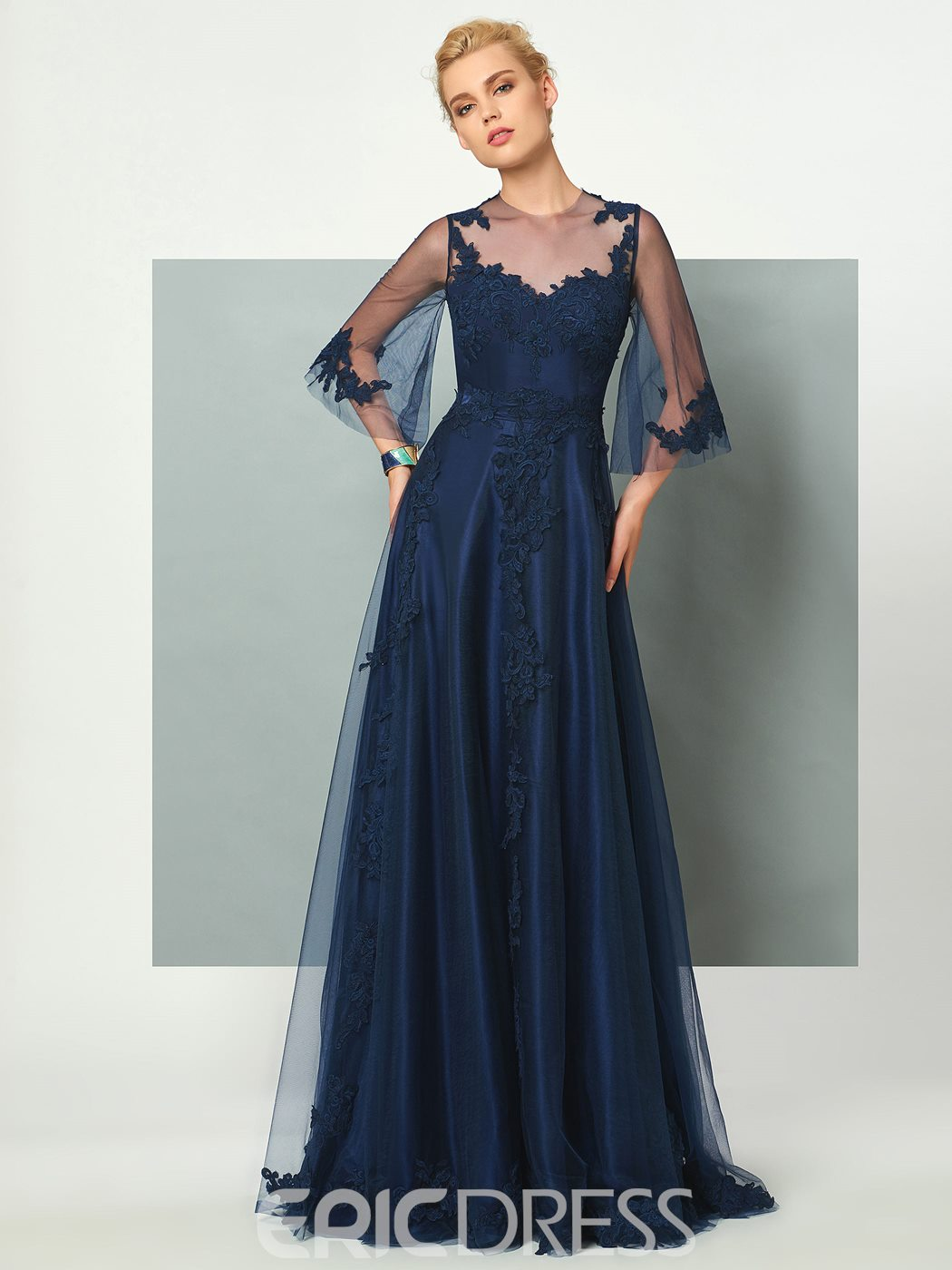 Ericdress A Line Scoop Neck 3/4 Sleeve Applique Tulle Floor Length Evening Dress