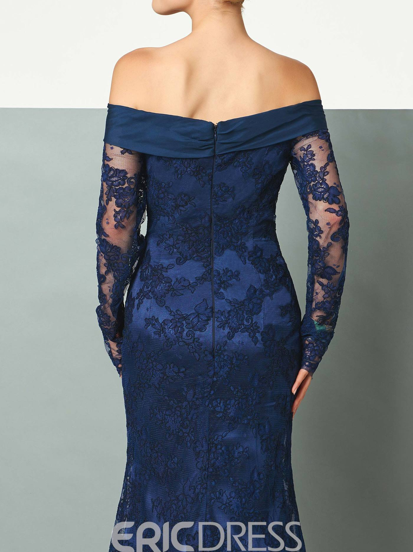 Ericdress Off The Shoulder Lace Mermaid Evening Party Dress With Long Sleeve