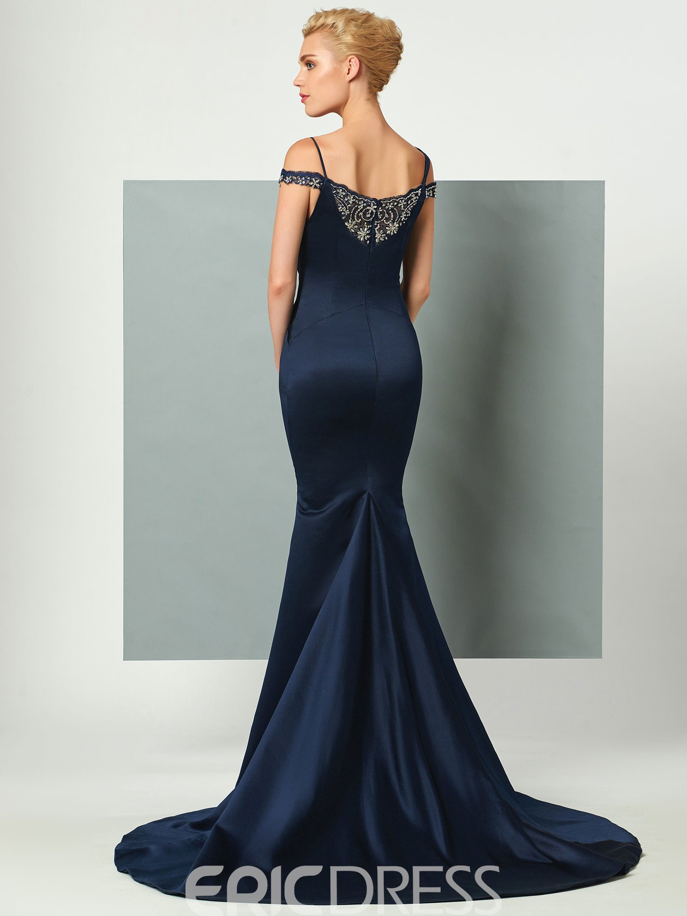 Ericdress Beaded Off The Shoulder Straps Court Train Mermaid Evening Dress