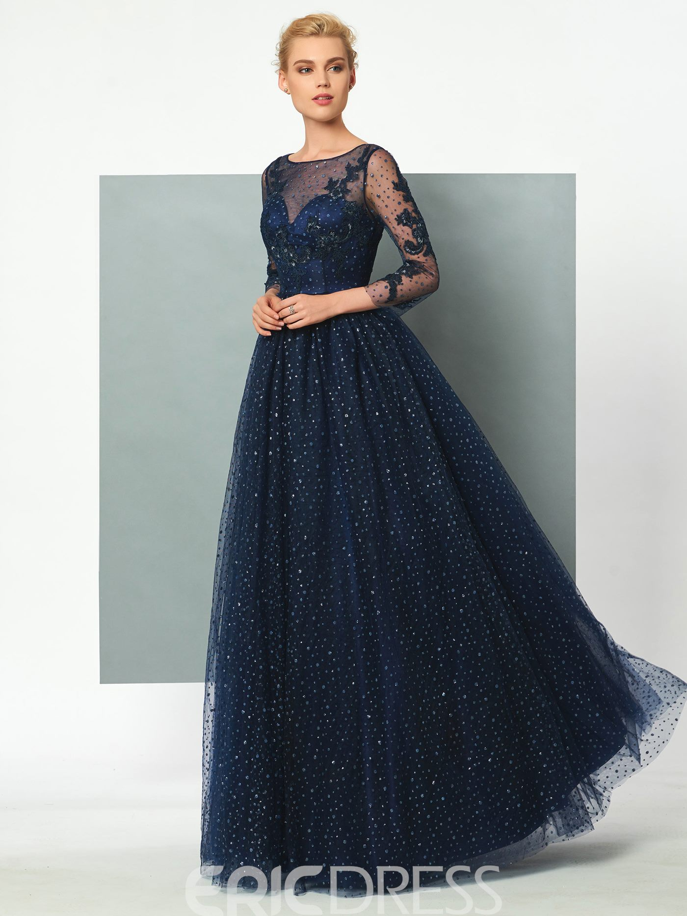 Ericdress 3/4 Sleeve Sheer Applique Tulle Button Back Floor Length Evening Dress