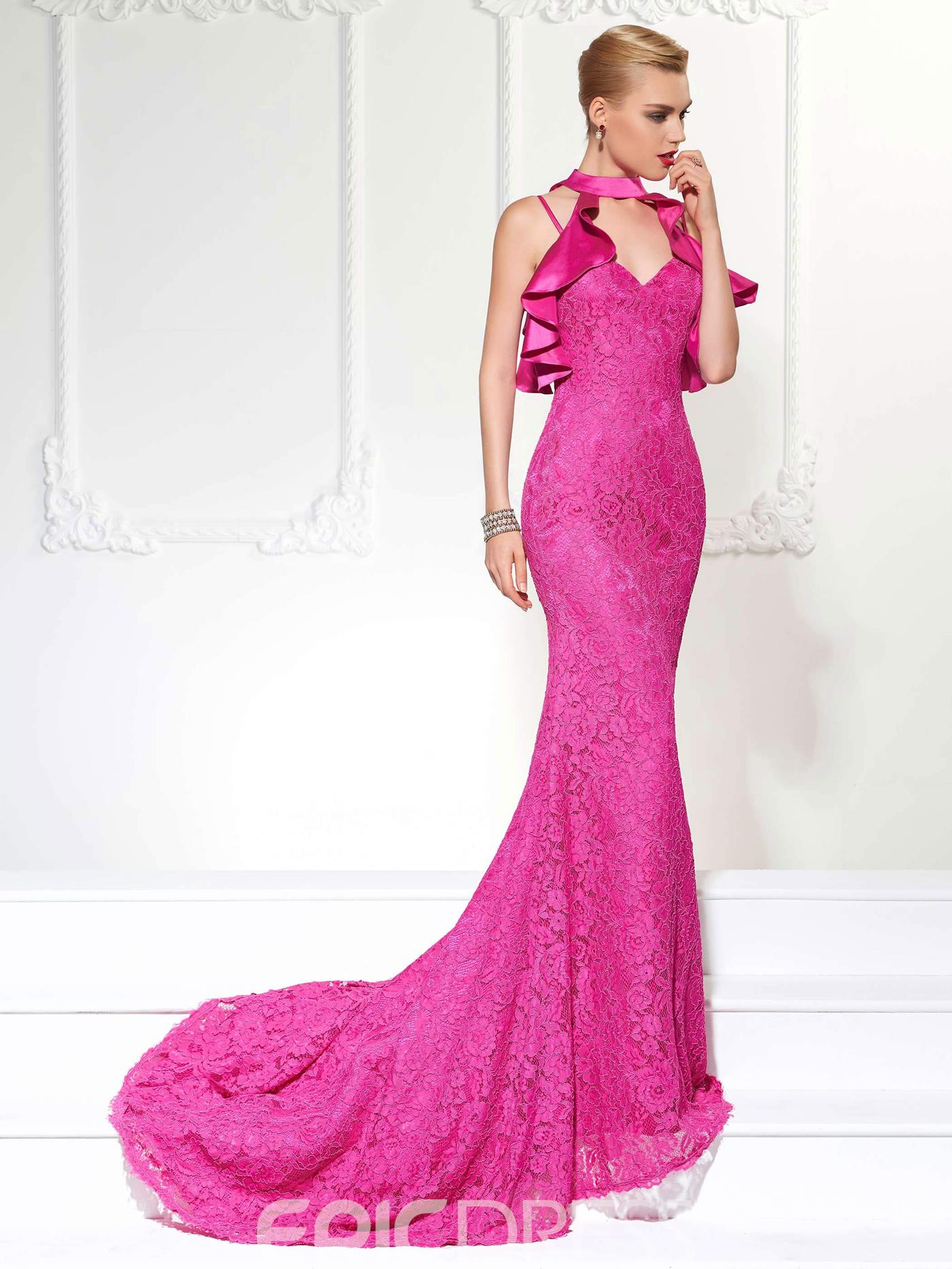 Ericdress Vintage Spaghetti Strap With Detachable Collar Lace Mermaid Evening Dress With Court Train