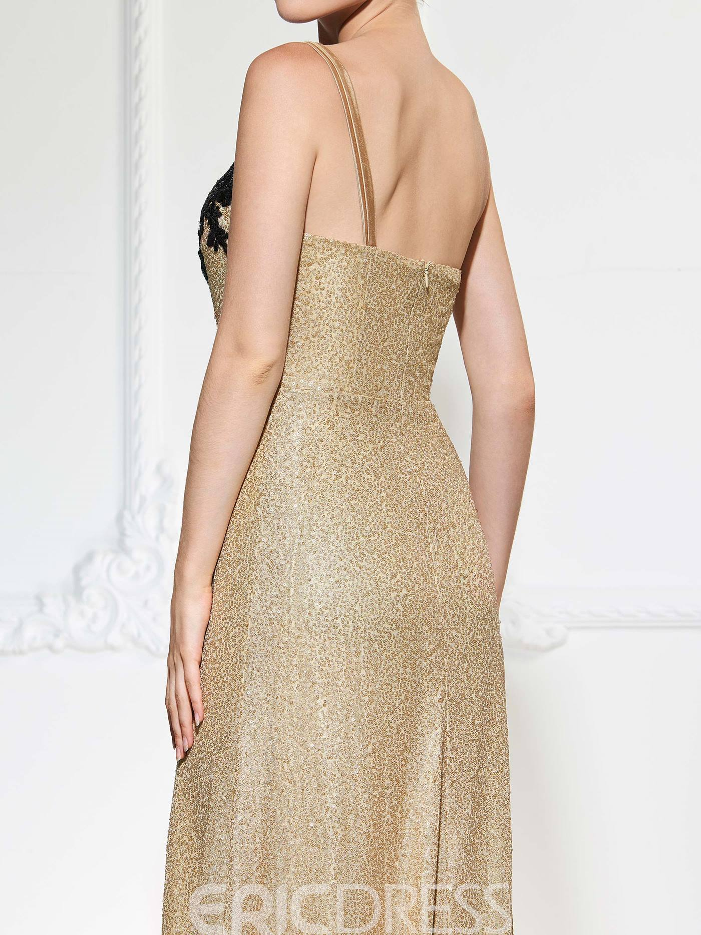 Ericdress Shinny Sequin Spaghetti One Shoulder Applique Slit Side Mermaid Evening Dress