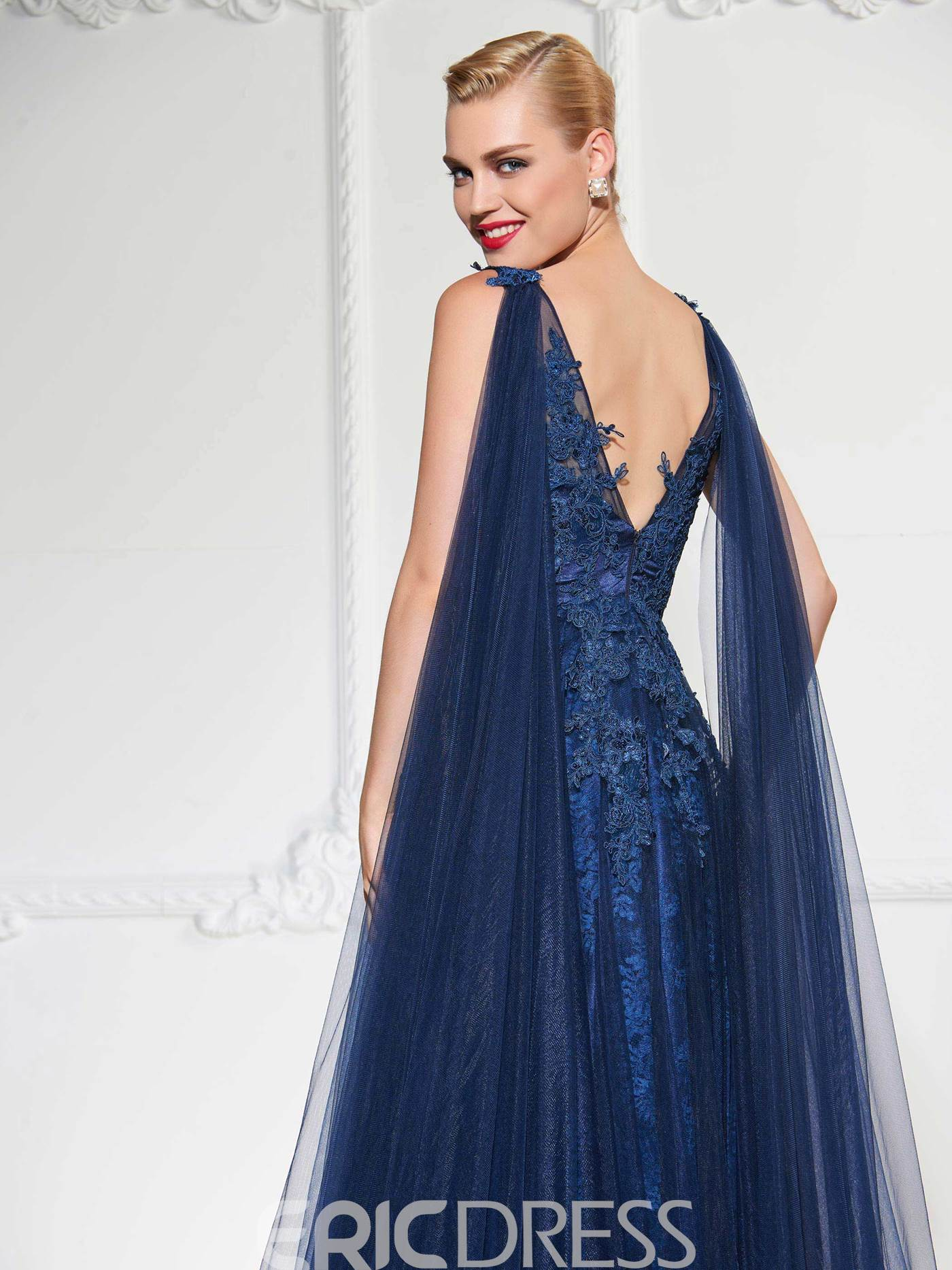 Ericdress A Line Applique Deep Back Evening Dress With Cape Train