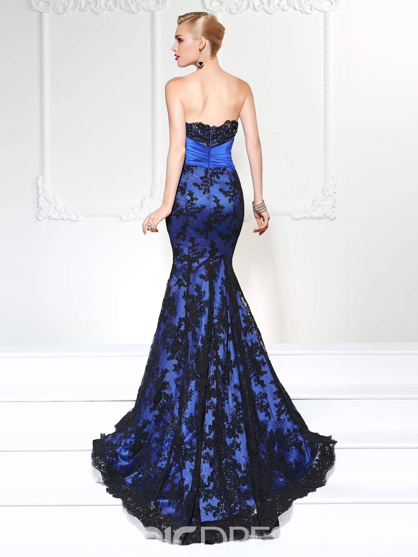 Ericdress Gorgeous Sweetheart Beaded Court Train Lace Mermaid Evening Party Gown