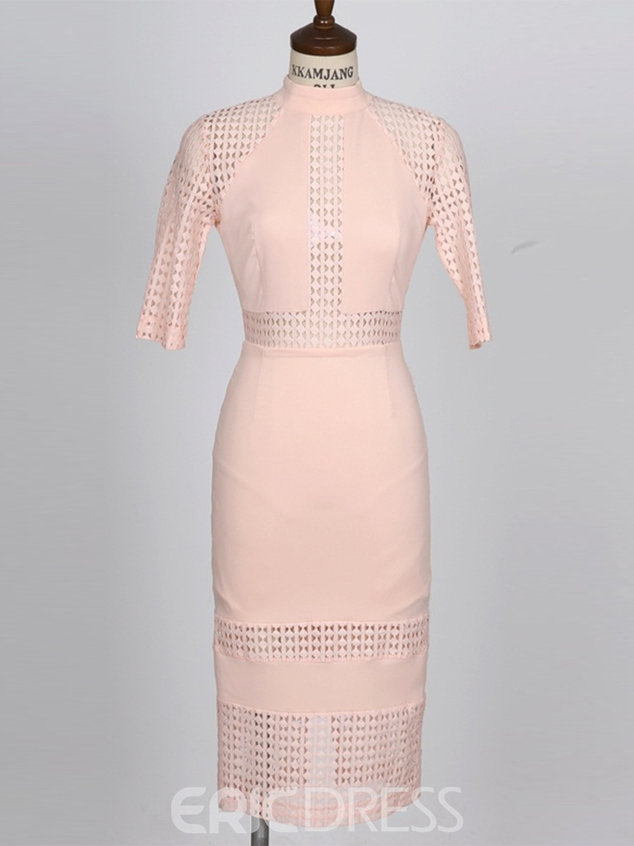Ericdress Pink Hollow Patchwork Bodycon Dress
