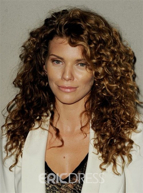 Ericdress New Medium Curly Lace Front Human Hair Wig 16 Inches