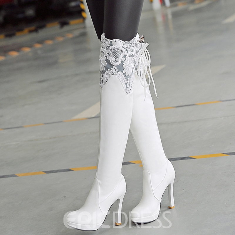 Ericdress Lace Patchwork Ultra High Thigh High Boots
