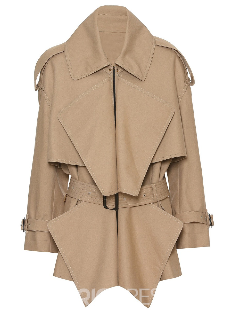 Ericdress Slim Belt Solid Color Trench Coat