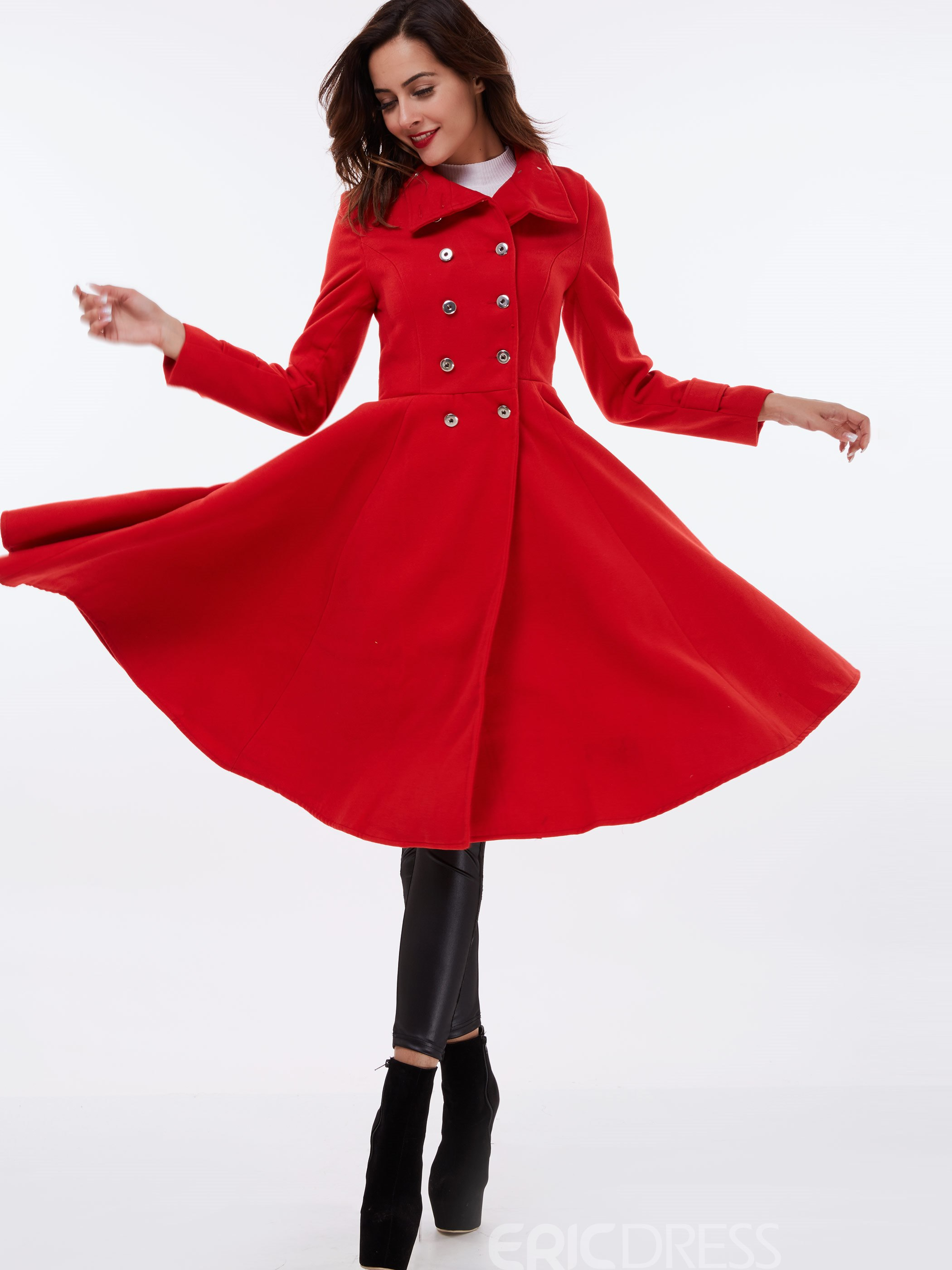 Ericdress Double-Breasted Stand Collar Coat