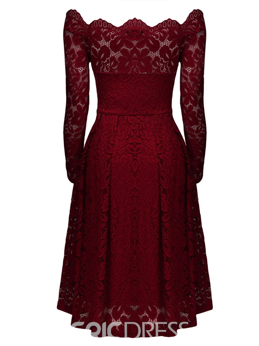 Ericdress Slash Neck Nine Points Sleeve Backless Lace Dress