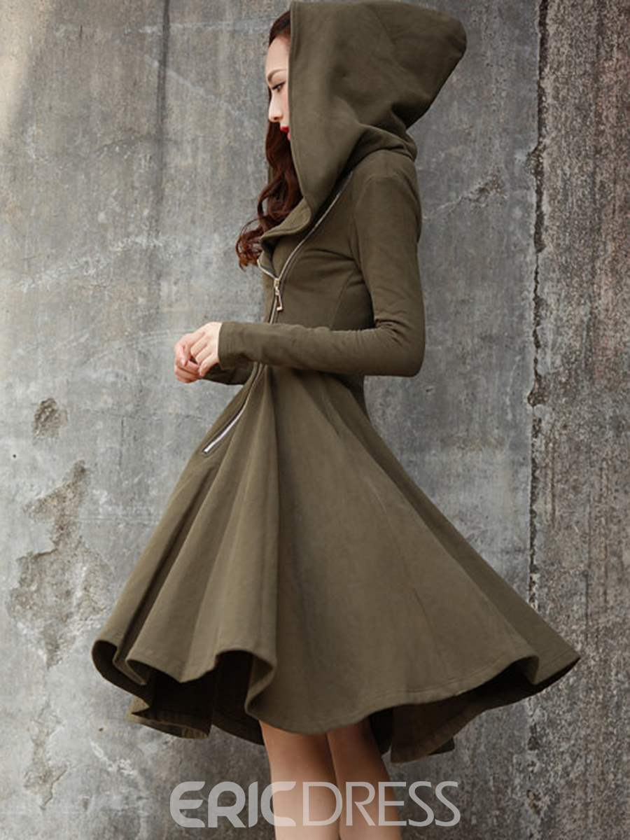 Ericdress Hooded Zipper Pleated Knee-Length Casual Dress