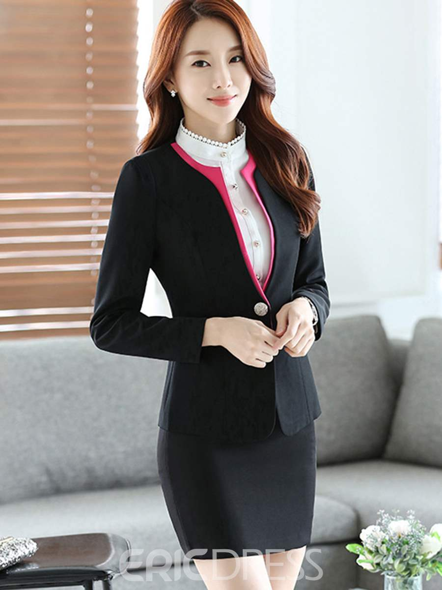 Ericdress Simple Color Block Blazer Formal Suit