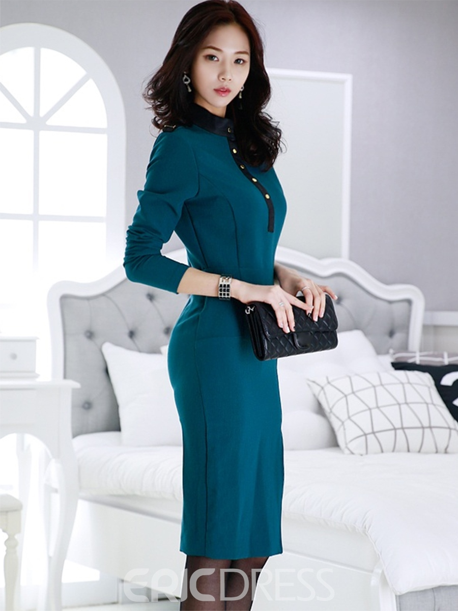 Ericdress Knee-Length Long Sleeves Stand Collar Women's Bodycon Dress
