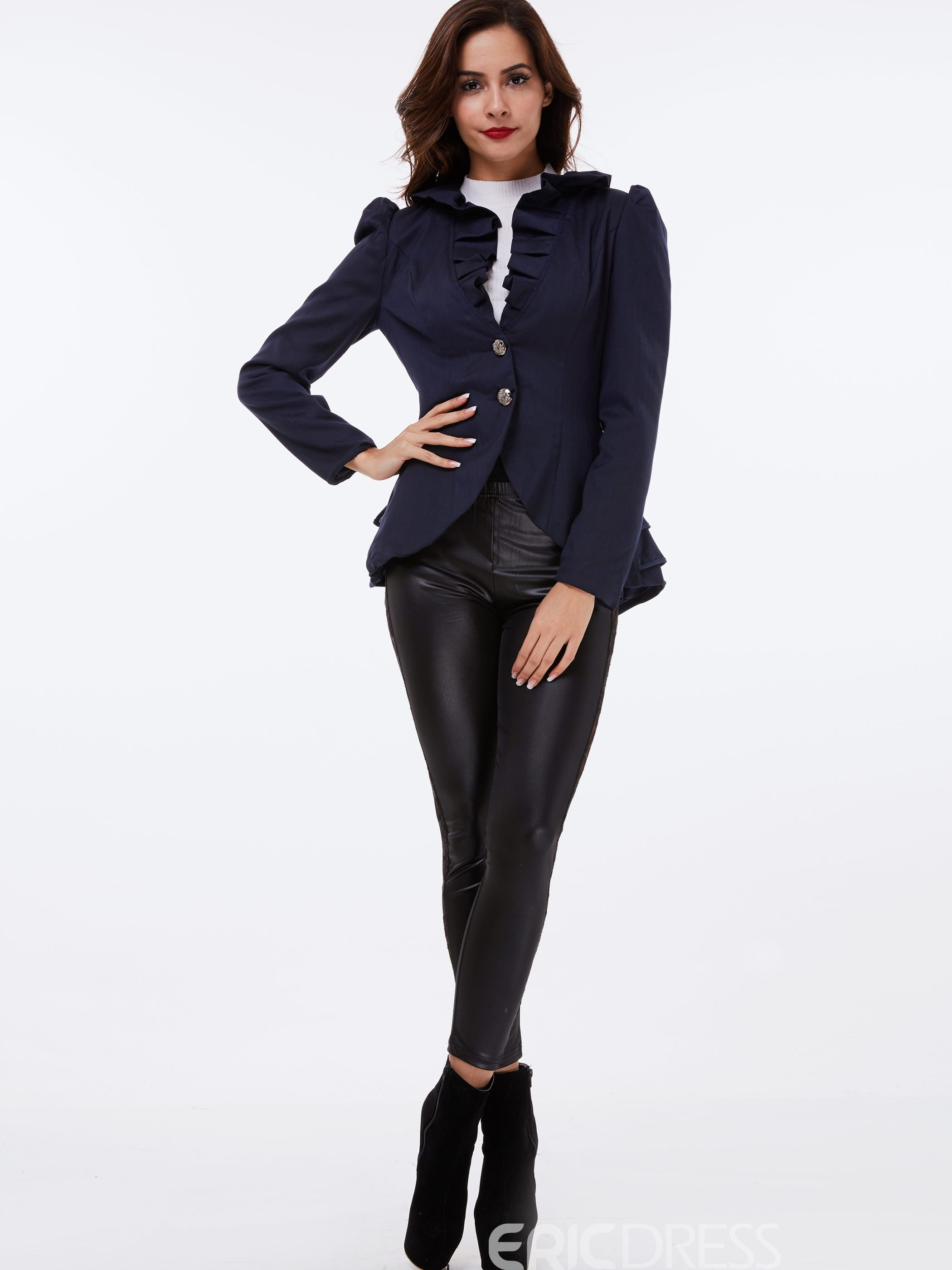 Ericdress Slim Solid Color Falbala Blazer