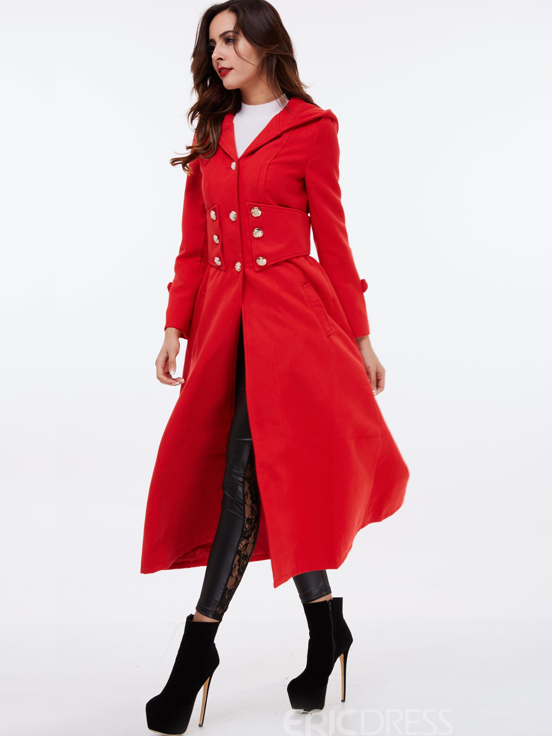 Ericdress Plain Slim Hooded Coat