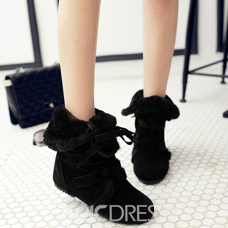 Ericdress Chic Suede Lace up Snow Boots