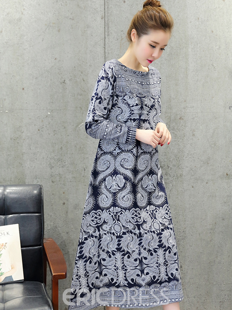 Ericdress Ethnic Button Patchwork Print Trumpet Casual Dress