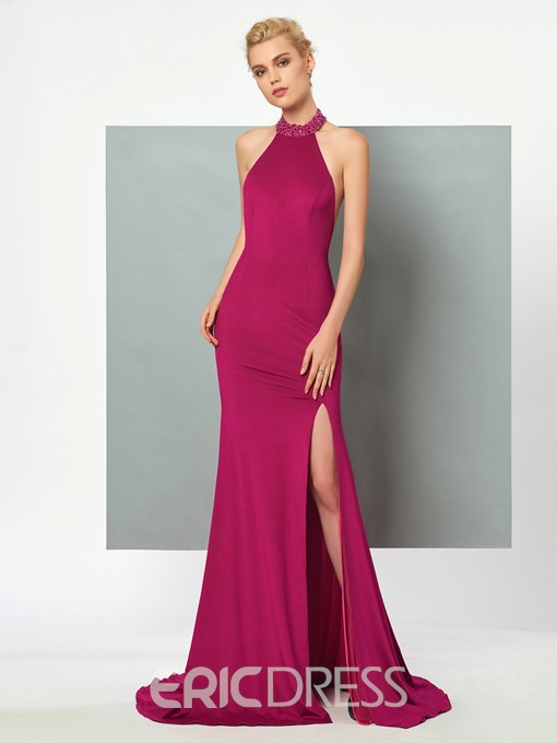 Ericdress Beaded Halter Side Slit Backless Spandex Mermaid Evening Party Dress