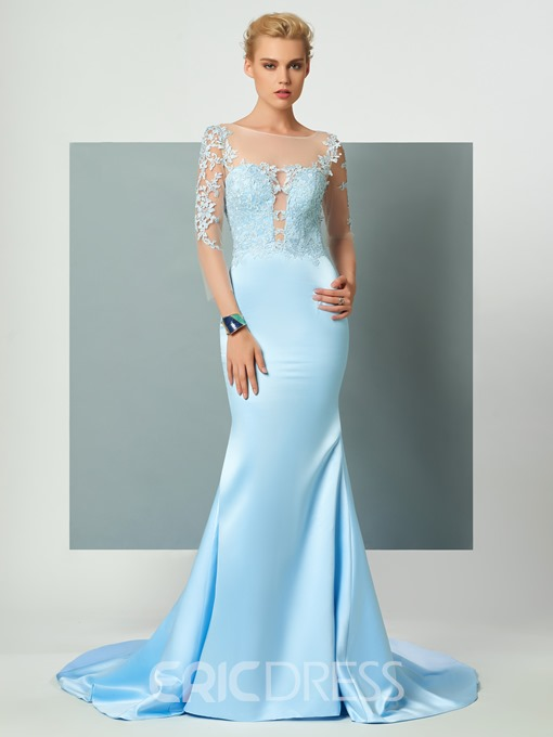 Ericdress 3/4 Length Sleeves Lace Applique Deep Back Court Train Mermaid Long Evening Dress