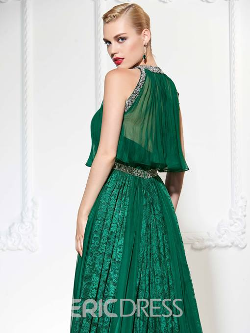 Ericdress Unique Beaded A Line Lace Evening Dress With Detachable Top