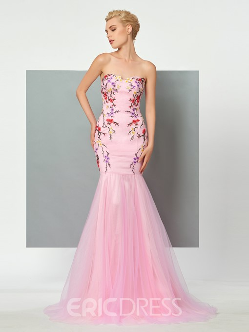 Ericdress Sweetheart Flower Embroidery Trumpet/Mermaid Evening Gown