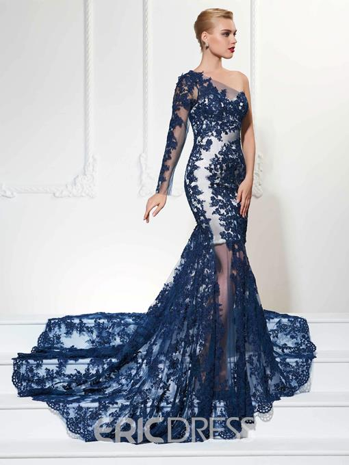 Ericdress Sexy One Shoulder Long Sleeve Applique Sheer Tulle Court Train Mermaid Evening Dress