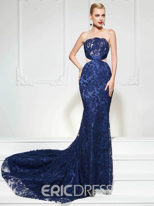 Ericdress Sheer Neck Lace Applique Mermaid Evening Gown