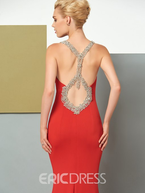 Ericdress Beaded Scoop Neckline Backless Mermaid Evening Dress