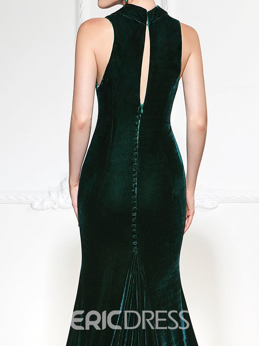 Ericdress Vintage Velvet Halter Court Train Long Mermaid Evening Dress
