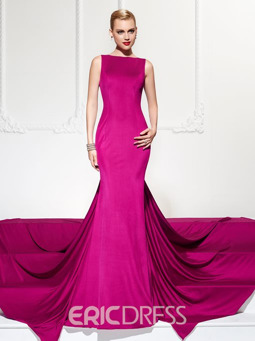 Ericdress Mermaid Bateau Neckline Backless Court Train Evening Party Dress
