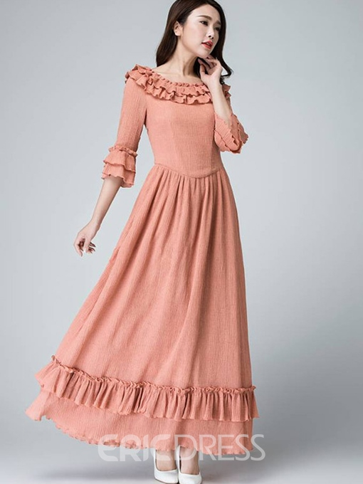 Ericdress Ruffled Collar Falbala Patchwork Pleated Maxi Dress