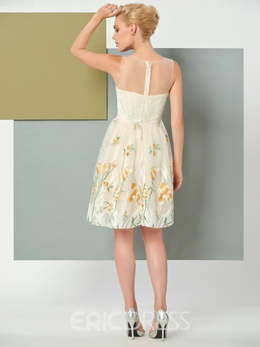 Ericdress A Line Sleeveless Embroidery Short Knee Length Cocktail Party Dress