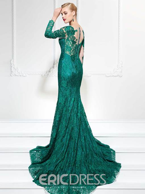 Ericdress Modern Long Sleeve Applique Slit Front Mermaid Evening Dress With Court Train