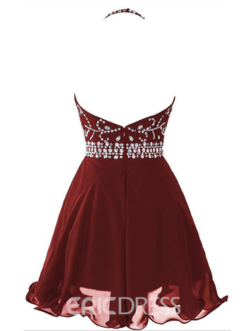 Ericdress A-Line Halter Backless Short Cocktail Dress With Beadings
