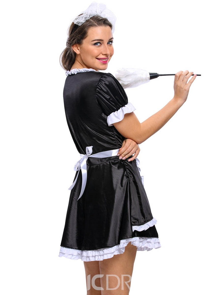 Ericdress Pleated Patchwork Sexy Maid Cosplay Halloween Costume