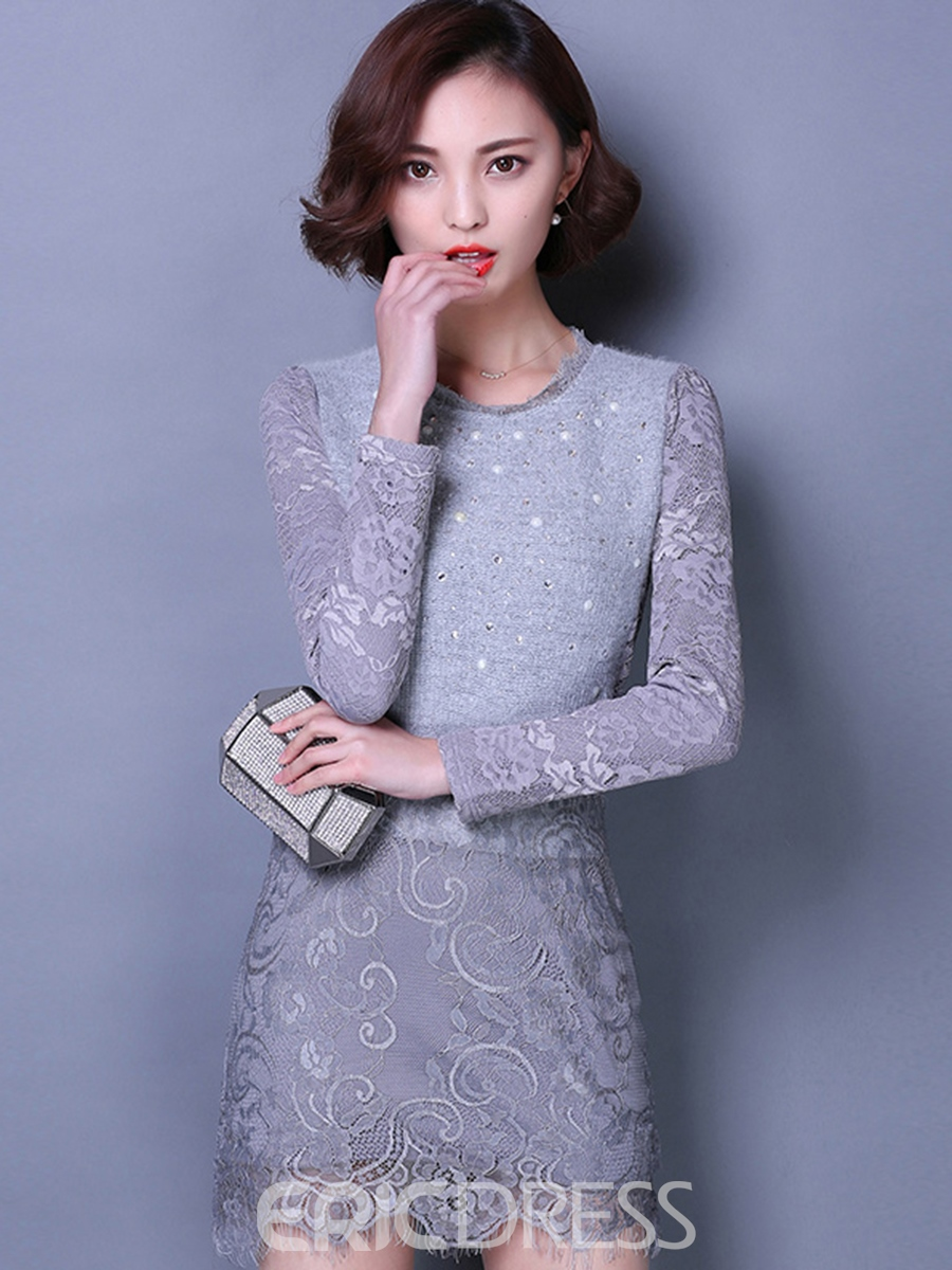 Ericdress Lace Patchwork Sequins Appliques Bodycon Dress