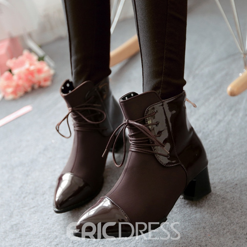 Ericdress Patchwork Point Toe Ankle Boots