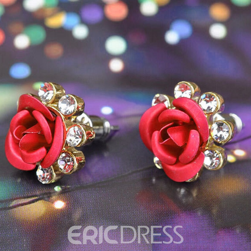 Ericdress Rose Diamante Stud Earrings