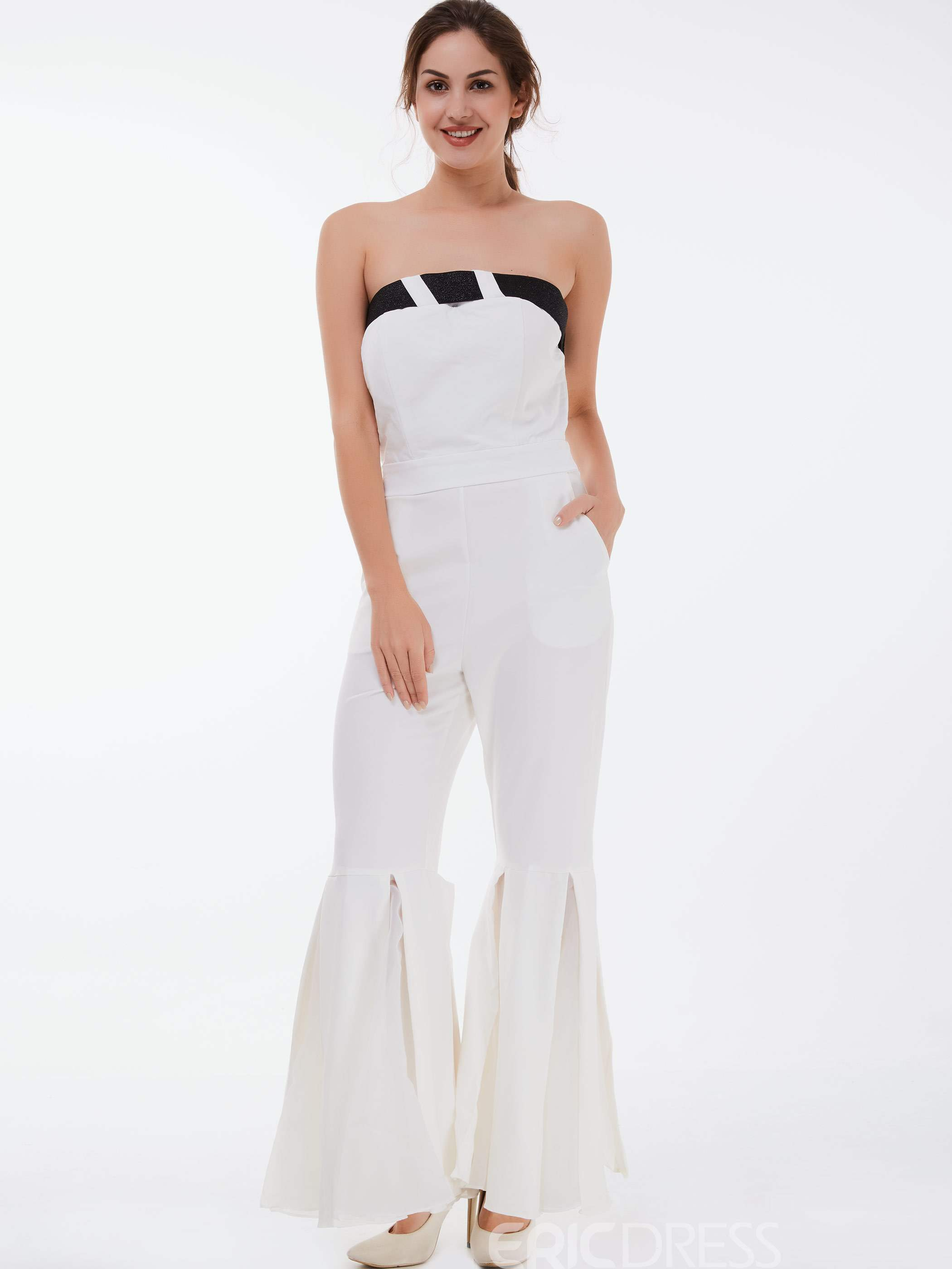 Ericdress Plain Color Mesh Strapless Slim Jumpsuits Pants