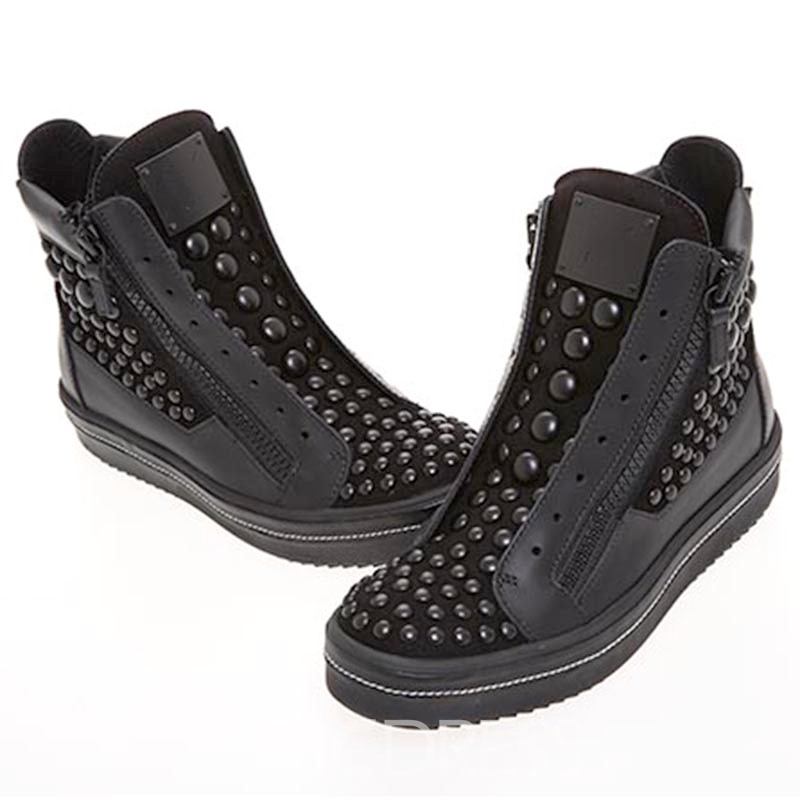 Ericdress Rivet Side Zipper Plain Men's Boots