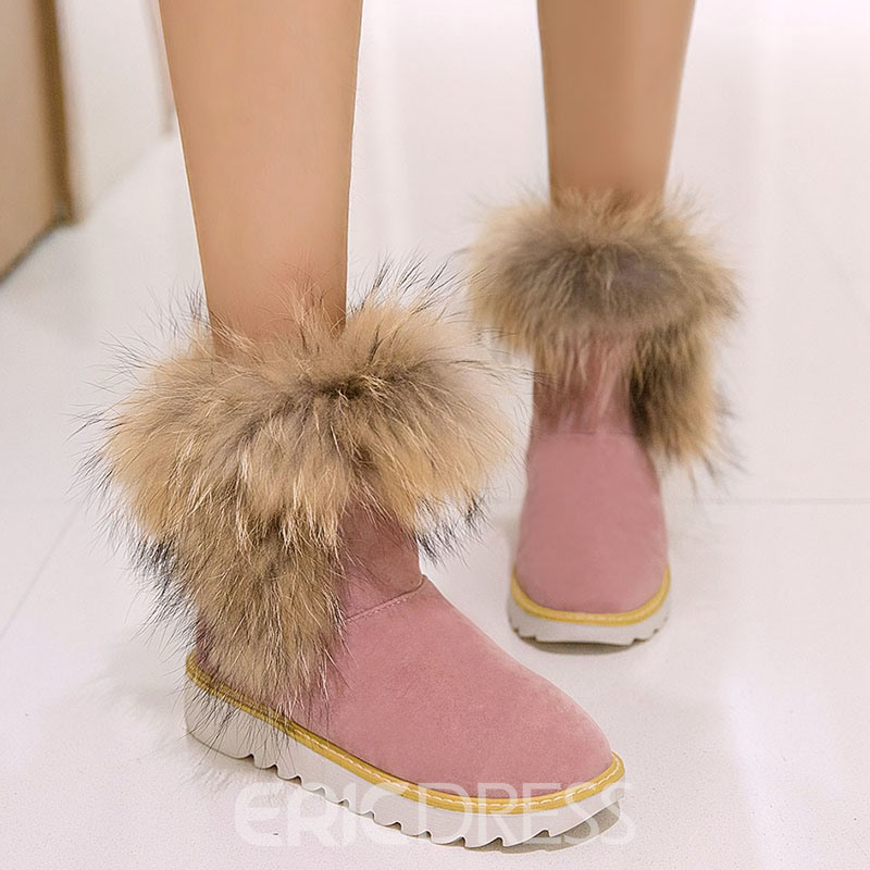 Ericdress Delicate Furry Flat Snow Boots