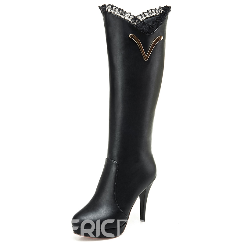 Ericdress PU Lace Decorated Platform Knee High Boots
