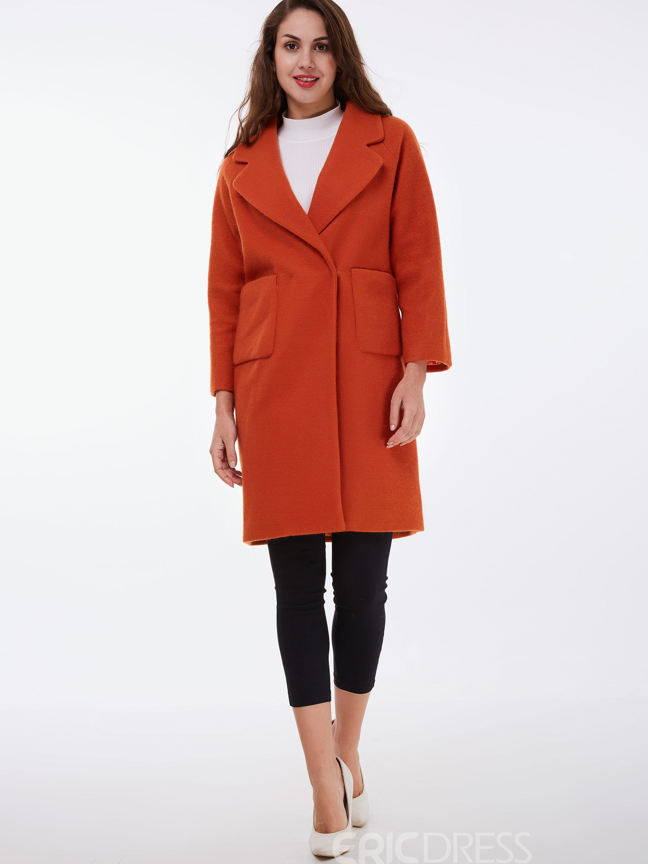 Ericdress Straight Pocket Solid Color Coat