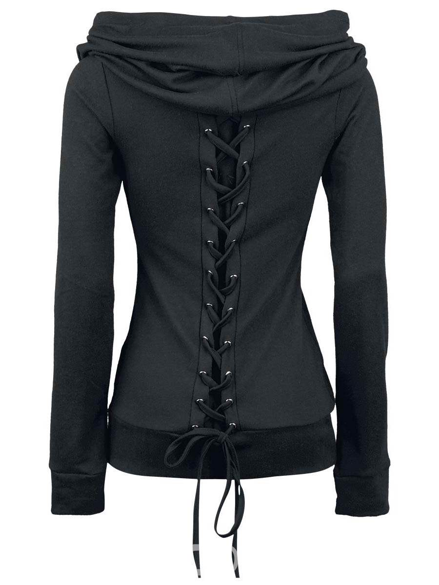 Ericdress Solid Color Lace-Up Heap Hoodie